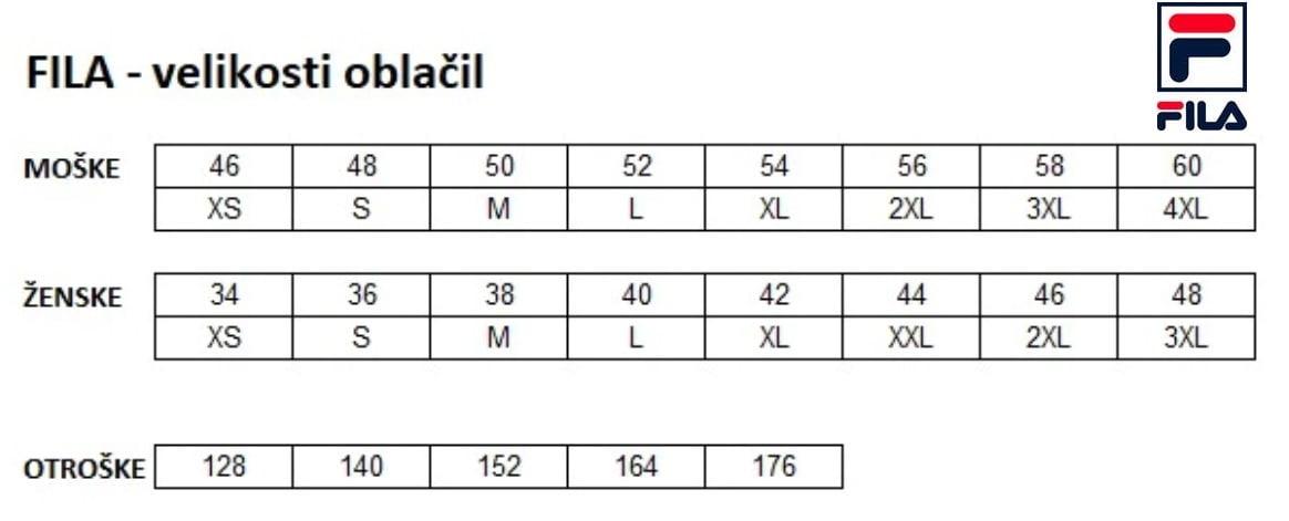 Fila tekstil tabelav velikosti
