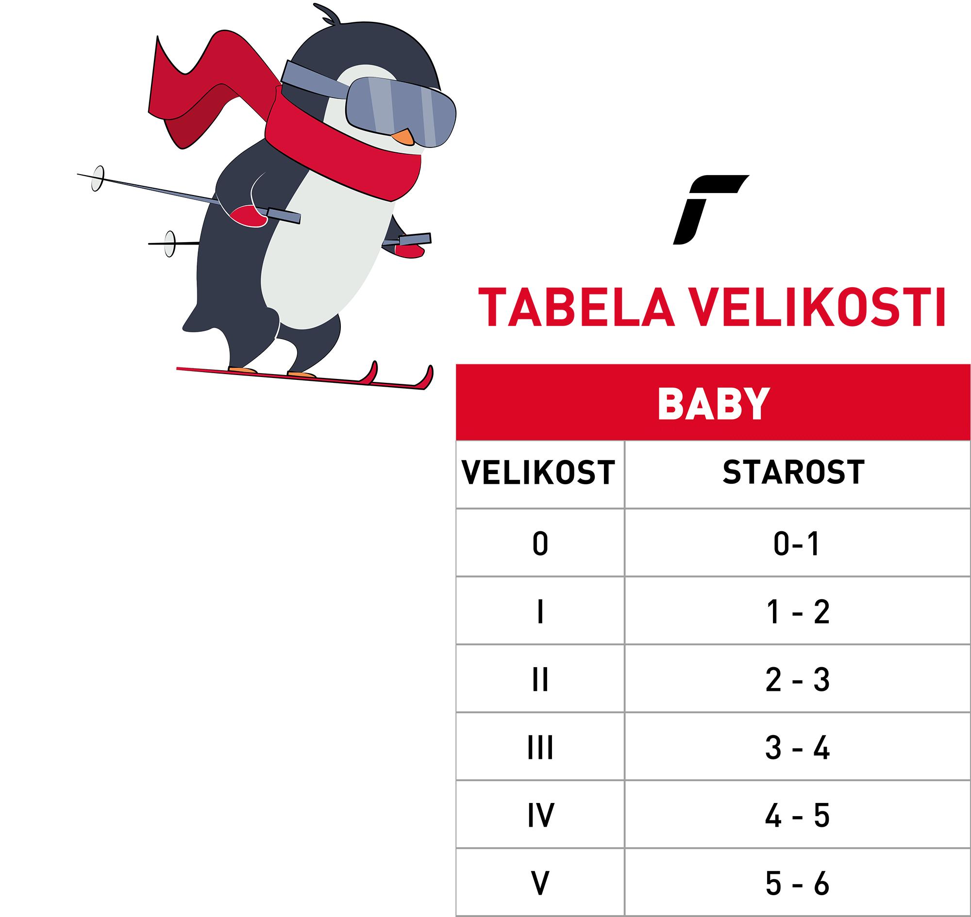 Sporteverest reusch tabela velikosti baby